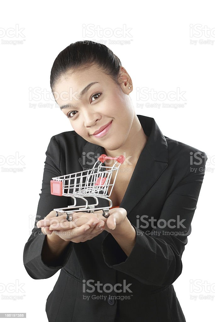 Teenager happy shopping, focus at model. royalty-free stock photo