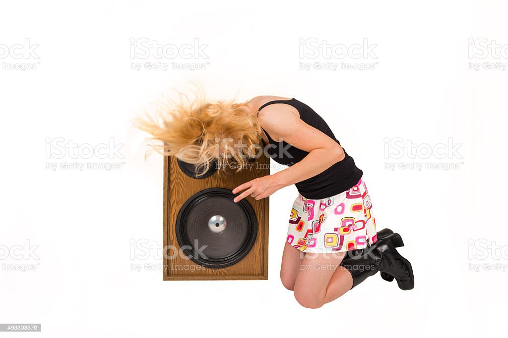 teenager headbanging stock photo