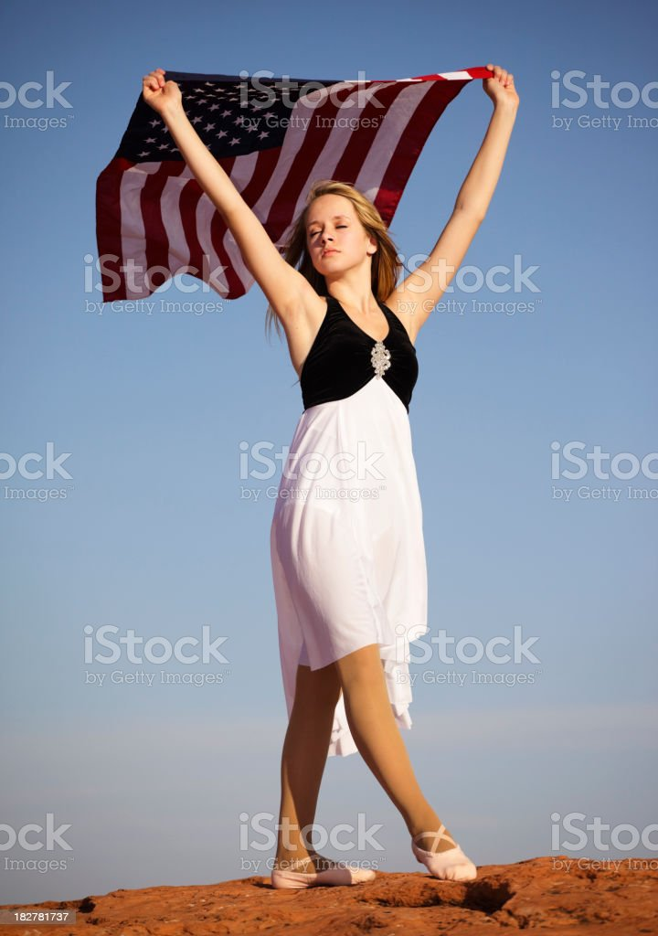 Teenager Holding American Flag royalty-free stock photo