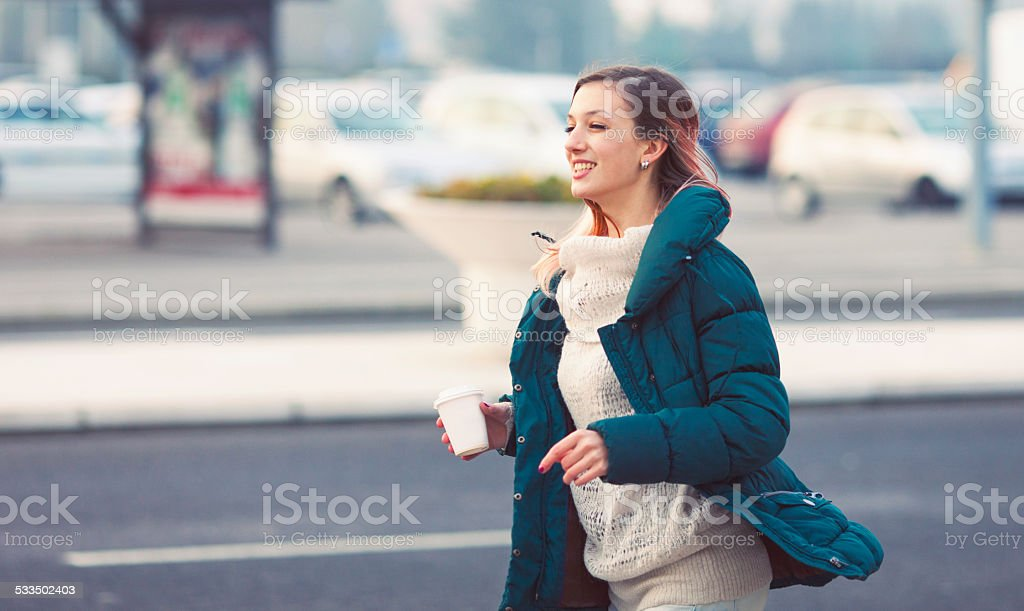 Teenager in a hurry stock photo