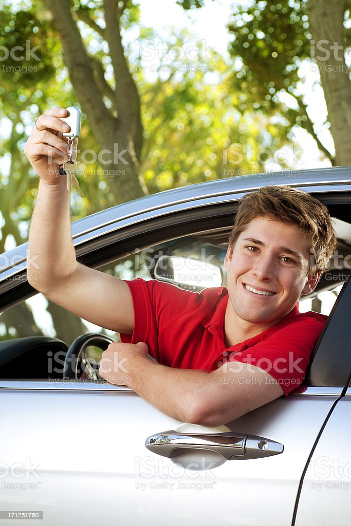 Teenager in New Car stock photo