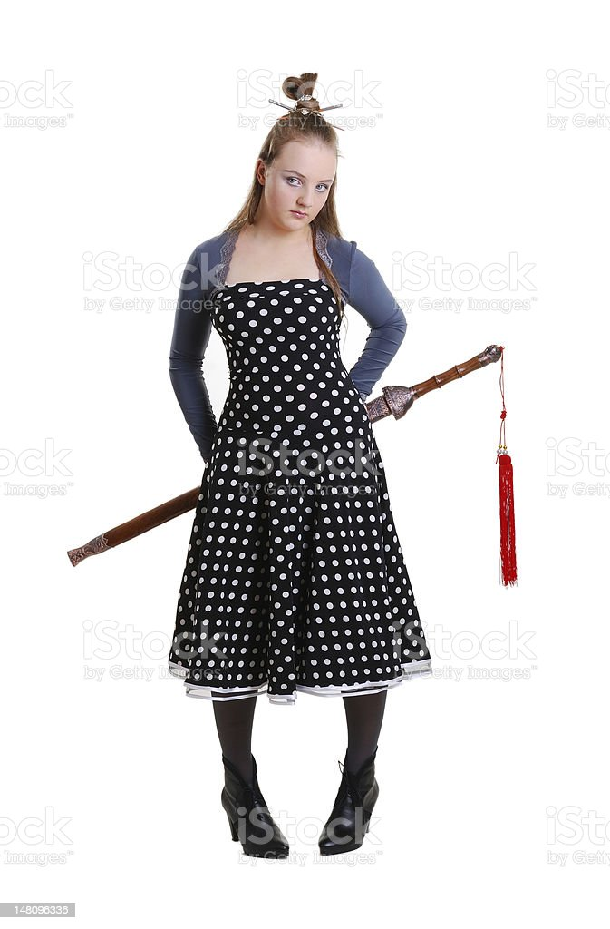 Teenager in the anime costume stock photo