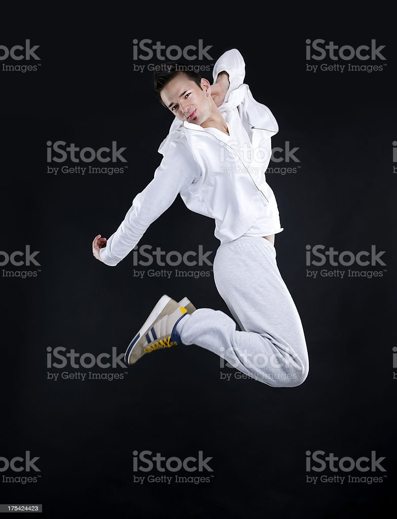 teenager jumping stock photo