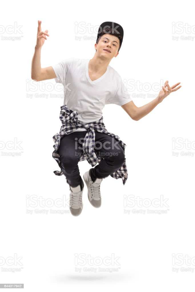 Teenager jumping stock photo