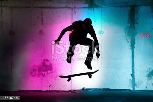 istock teenager jumping, skateboarding at night black silhouette 177107430