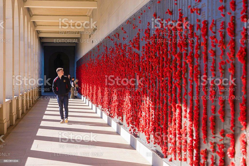 Teenager looking at bronze plaques in the Australian War Memorial stock photo