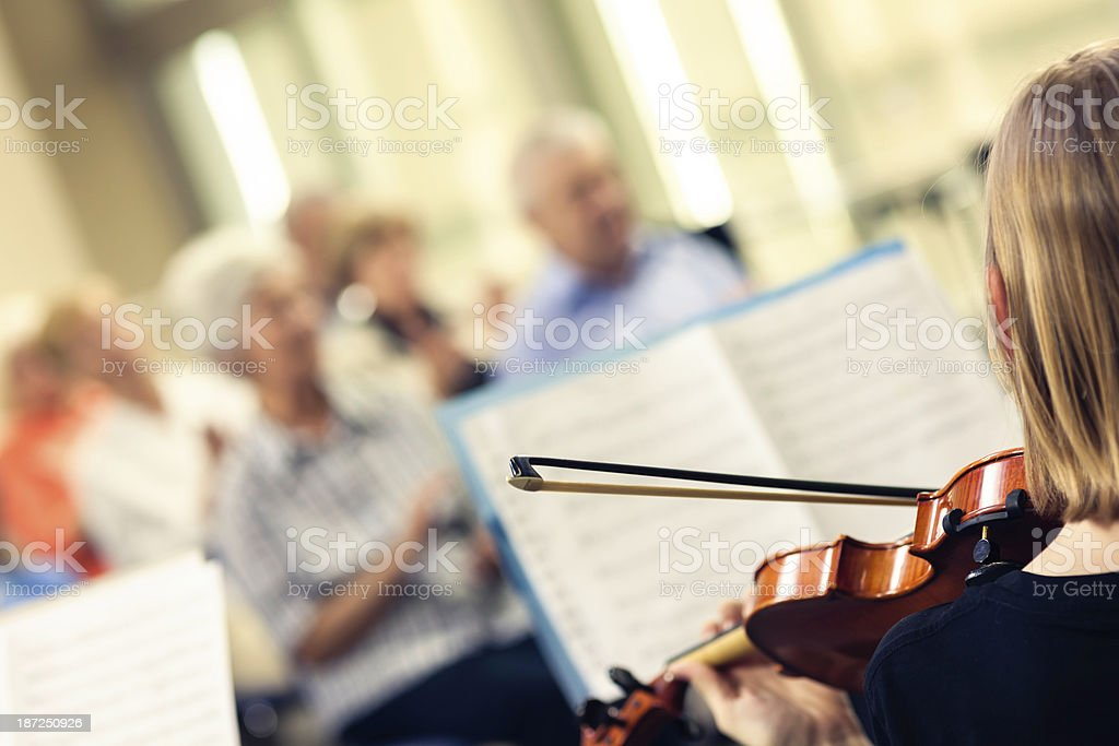 Teenager Playing On Classical School Concert royalty-free stock photo