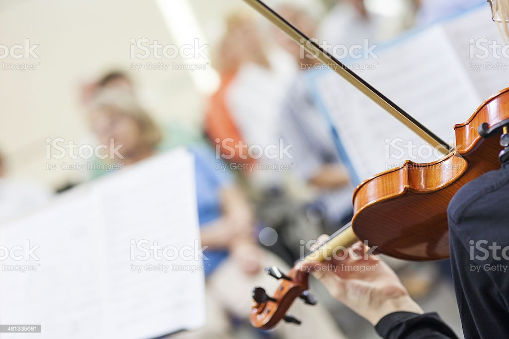Teenager Playing On Classical School Concert stock photo