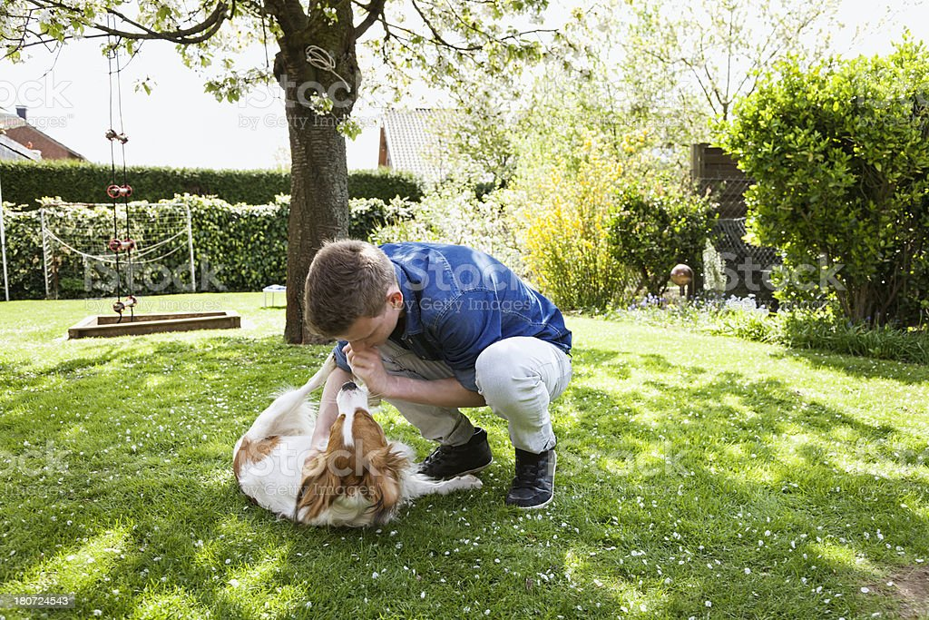 teenager playing with dog in garden royalty-free stock photo