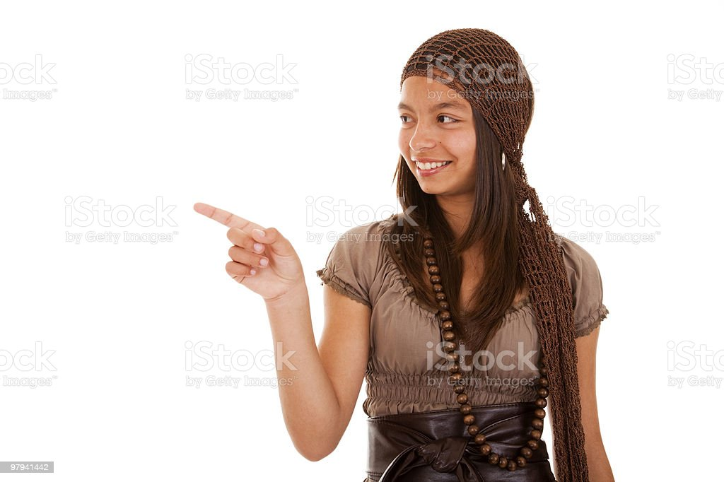 teenager pointing to the copyspace royalty-free stock photo