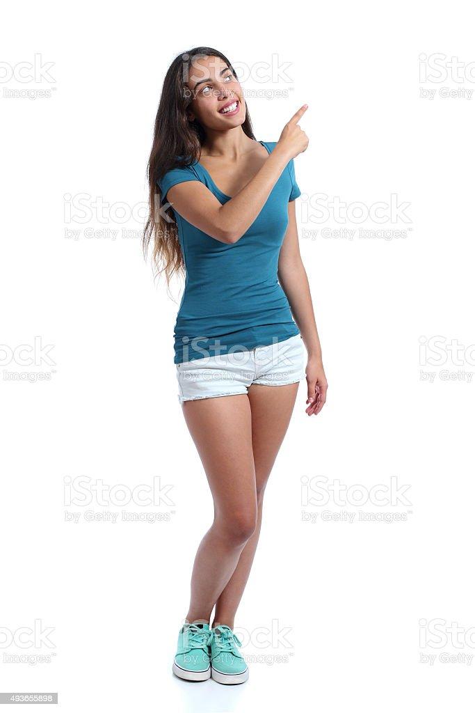 f1eca8a4ce5f Ragazza adolescente organizzatore consegna che indica sul lato foto stock  royalty-free