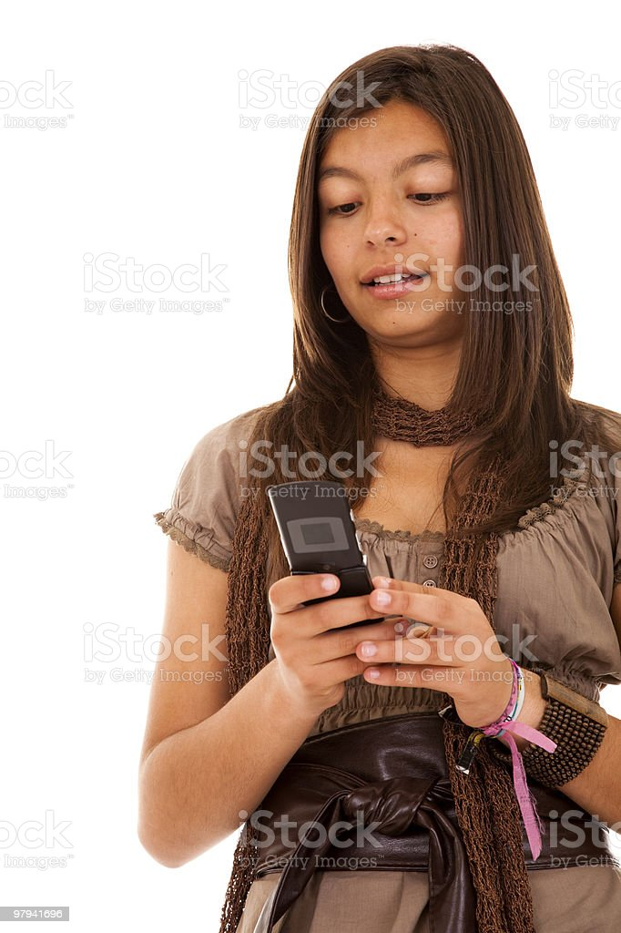 Teenager sms addiction royalty-free stock photo
