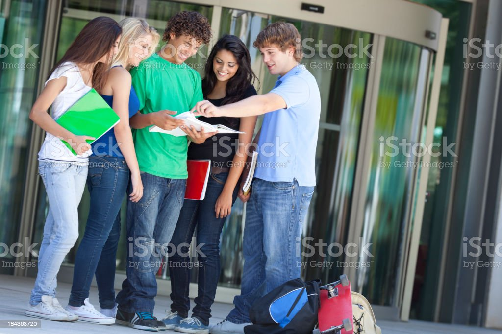 teenager study together after school stock photo