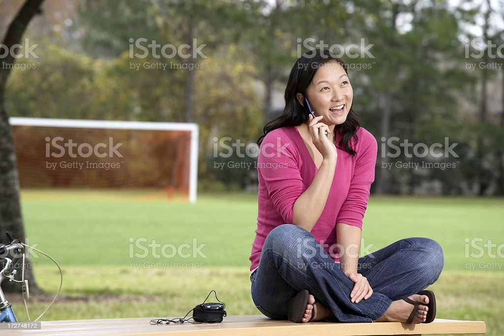 teenager talking on mobile phone royalty-free stock photo