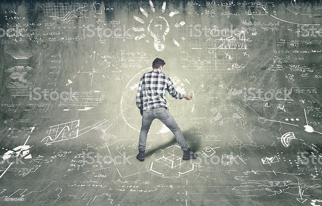 Teenager tries to solve problems stock photo