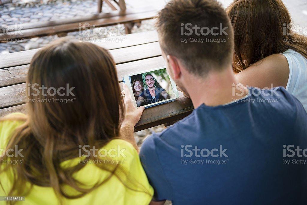 Teenager using digital tablet royalty-free stock photo