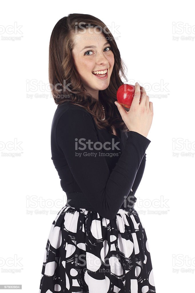 Teenager with a healthy snack royalty-free stock photo