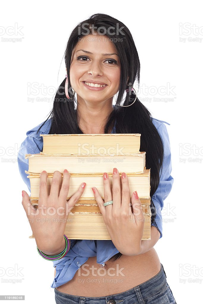 Teenager with books royalty-free stock photo