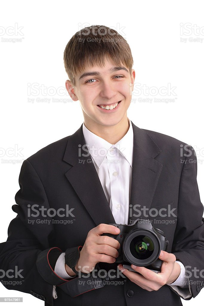 teenager with camera royalty-free stock photo