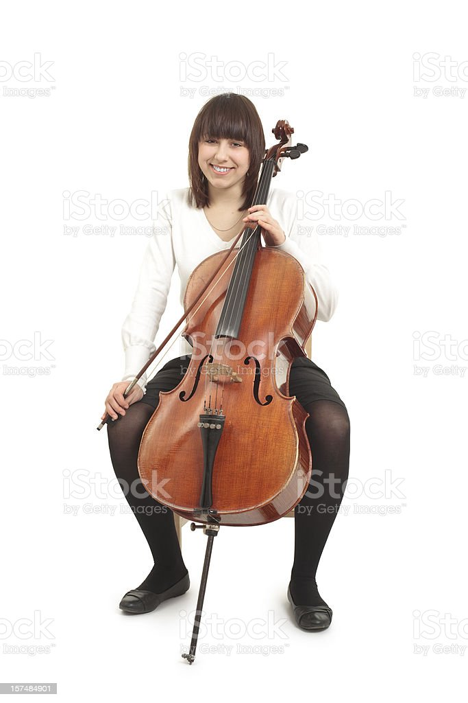 teenager with cello royalty-free stock photo