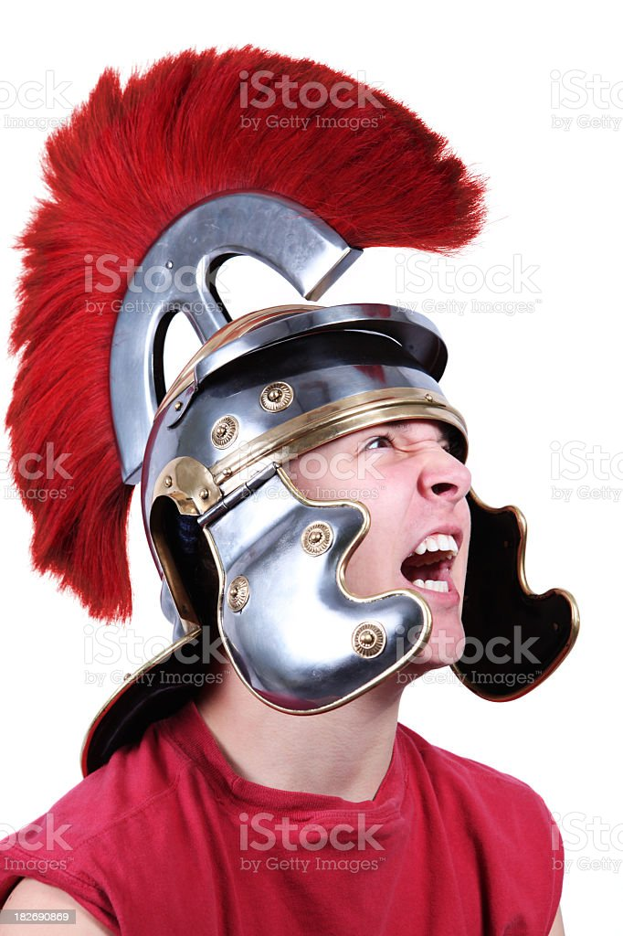 Teenager with Centurion Helmet royalty-free stock photo