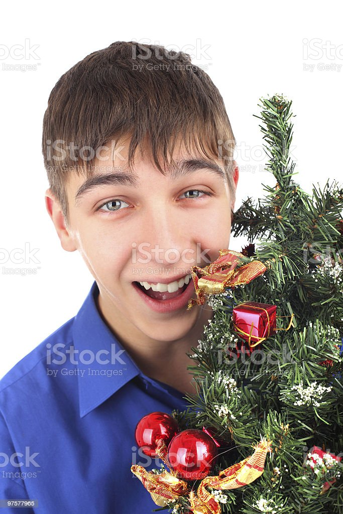 teenager with christmas tree royalty-free stock photo
