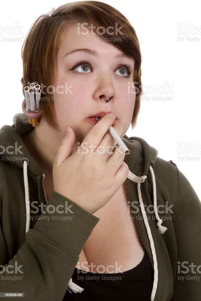 Teenager with cigarettes royalty-free stock photo