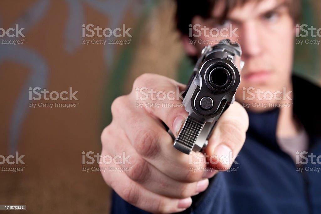 Teenager with Gun stock photo