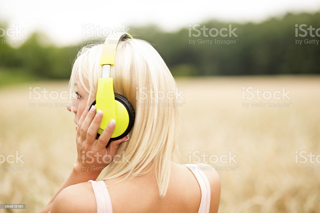Teenager with headphone portrait royalty-free stock photo