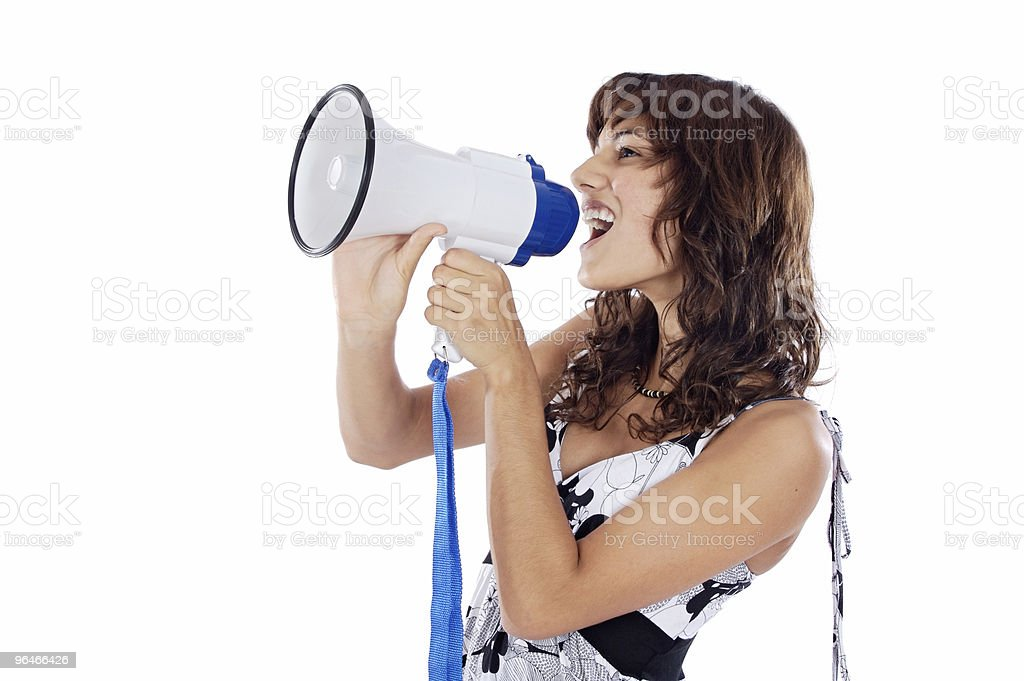 Teenager with megaphone royalty-free stock photo