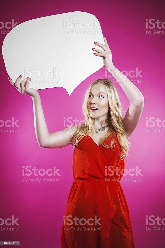 Teenager with speech bubble royalty-free stock photo