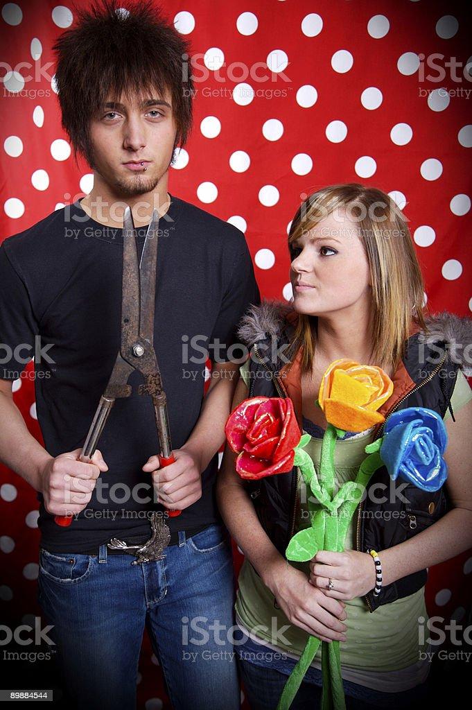 Adolescente joven pareja Retratos foto de stock libre de derechos