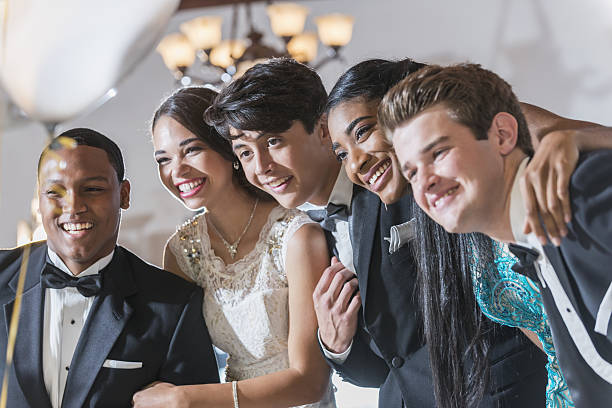 teenagers and young adults in formalwear - prom stock photos and pictures