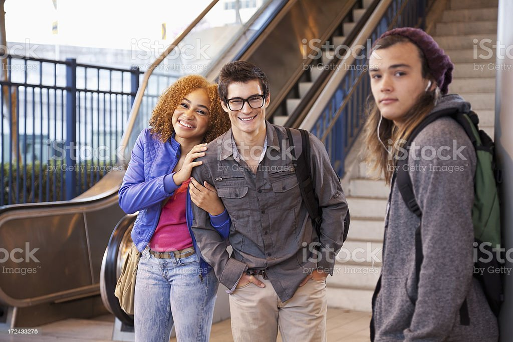 Teenagers at bottom of stairs royalty-free stock photo