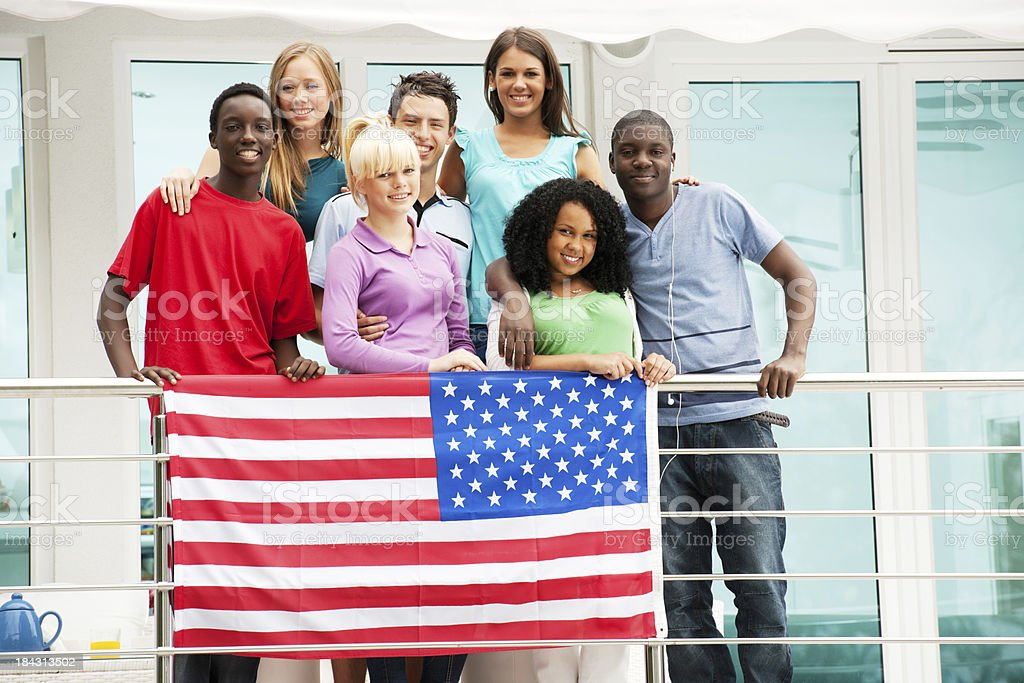 Teenagers celebrating the Fourth of July. royalty-free stock photo