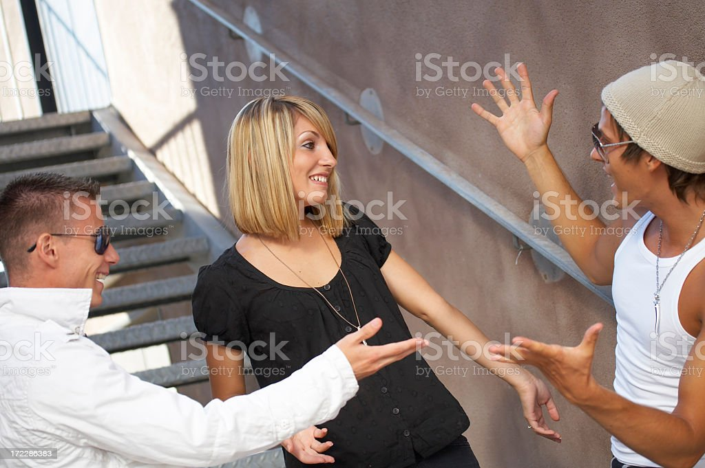 Teenagers flirting royalty-free stock photo