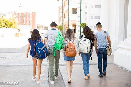 istock Teenagers going to school 1018286826