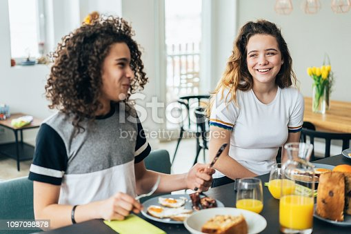 Two teenagers, brother and sister having breakfast at home