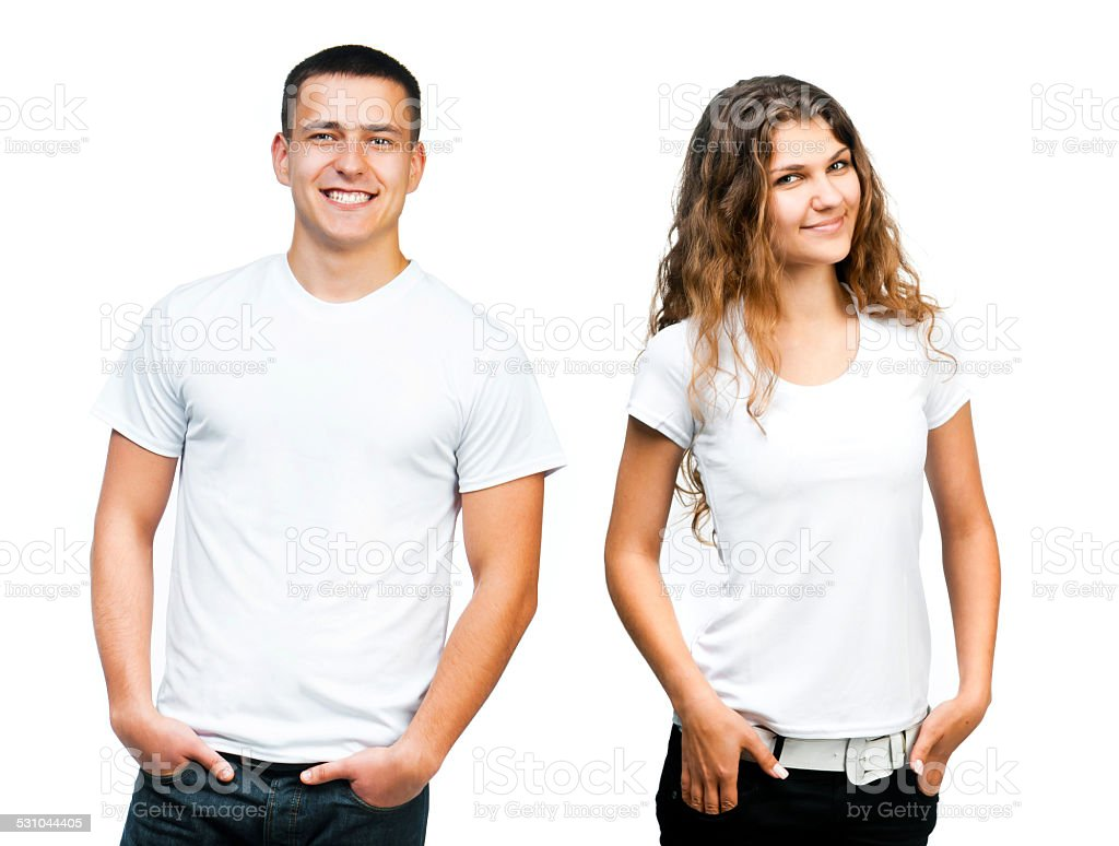 Teenagers in  Blank White Shirt stock photo