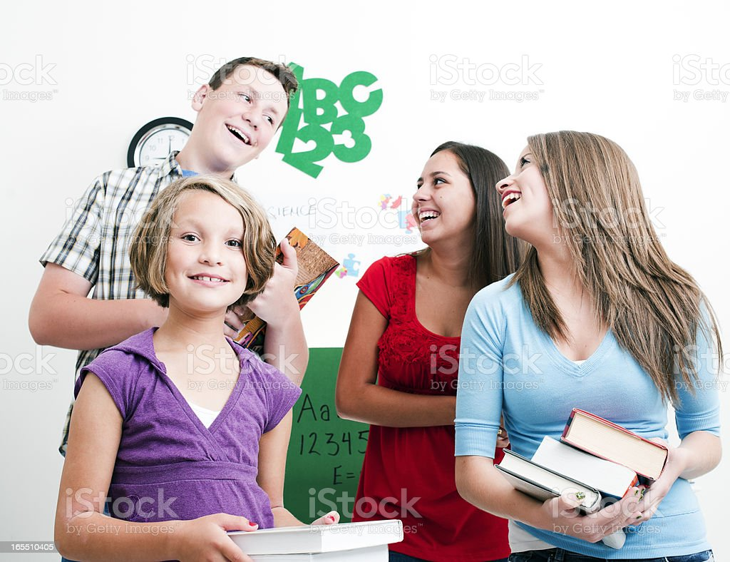 Teenagers in Classroom Setting, Back to School royalty-free stock photo