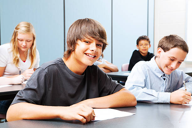 Teenagers in School stock photo