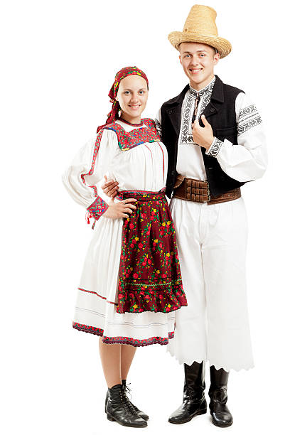 teenagers in traditional costumes - eastern european culture stock photos and pictures