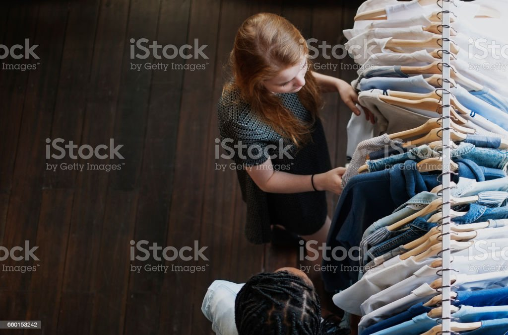 Teenagers Looking for Clothes Shopping stock photo