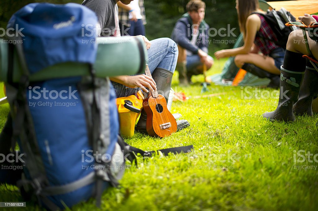 teenagers making camp royalty-free stock photo