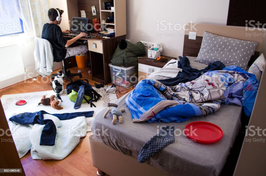 Teenagers messy room stock photo