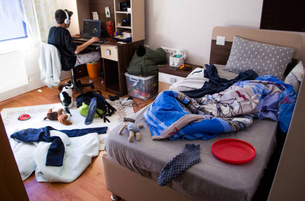 Teenagers messy room stock photo