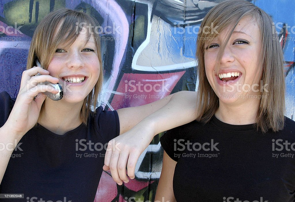 Teenagers on the Phone stock photo