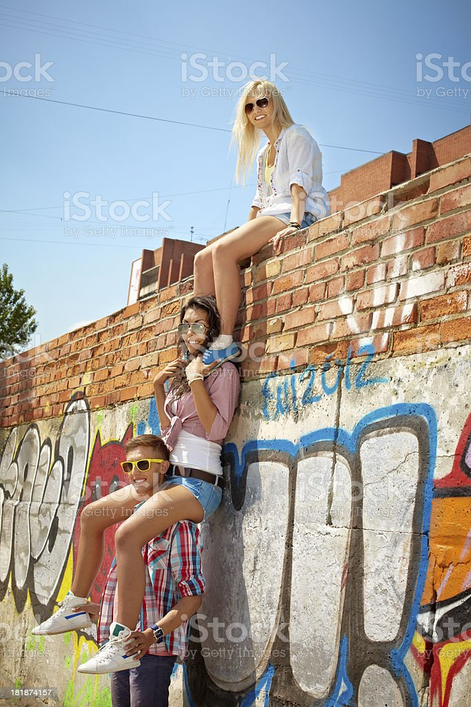 Teenagers outdoors royalty-free stock photo