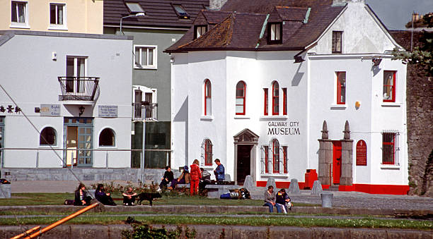 teenagers outside the Galway City Museum stock photo