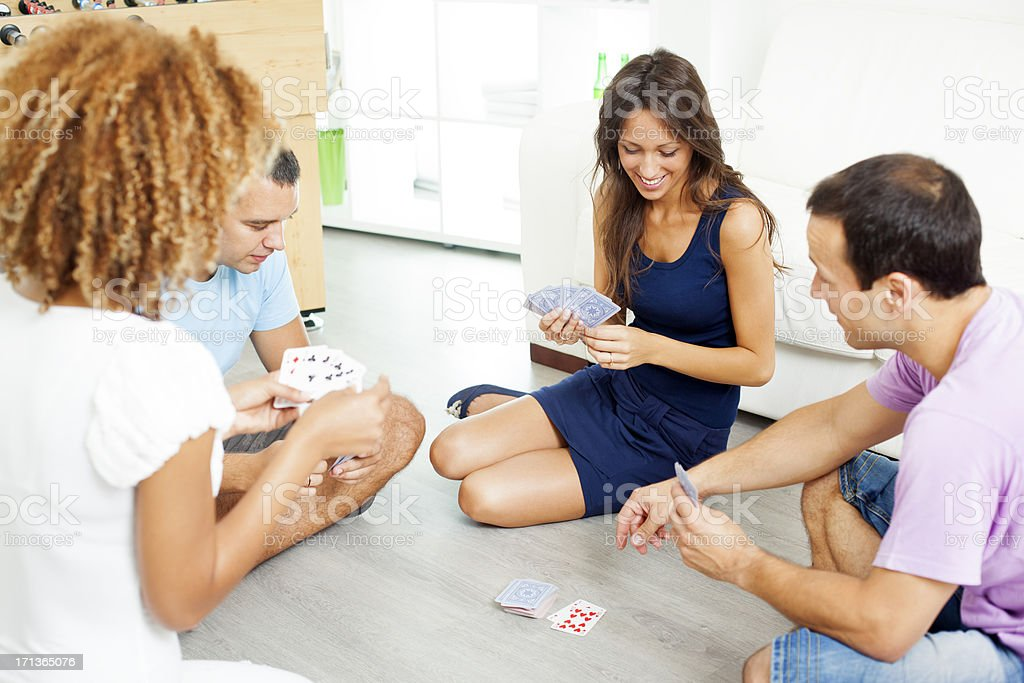 Teenagers Playing Cards. stock photo
